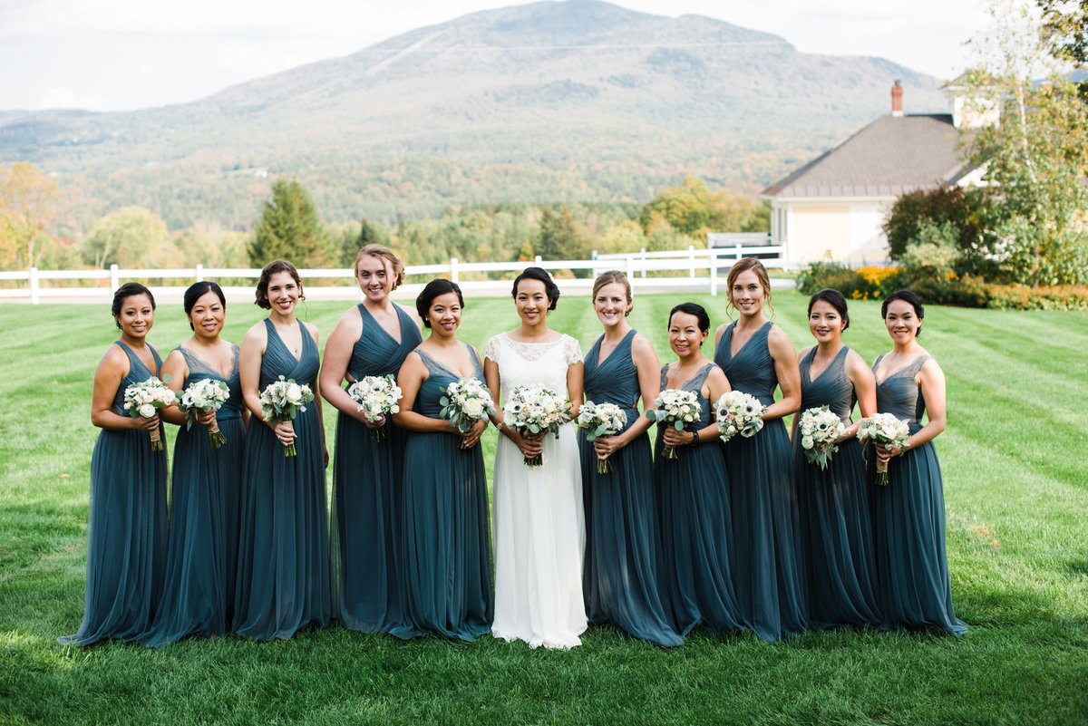 bride and bridesmaids in Vermont mountains