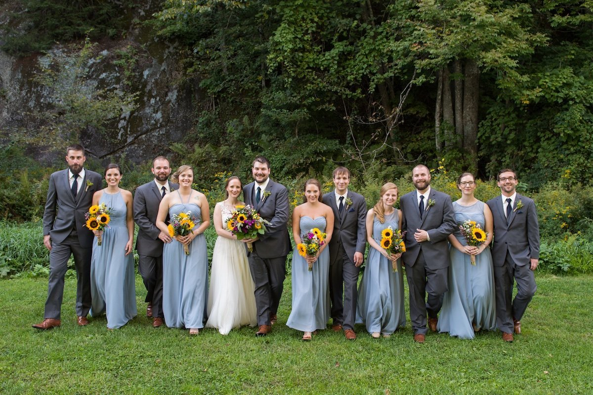 photographing a large wedding party with more than 10 people