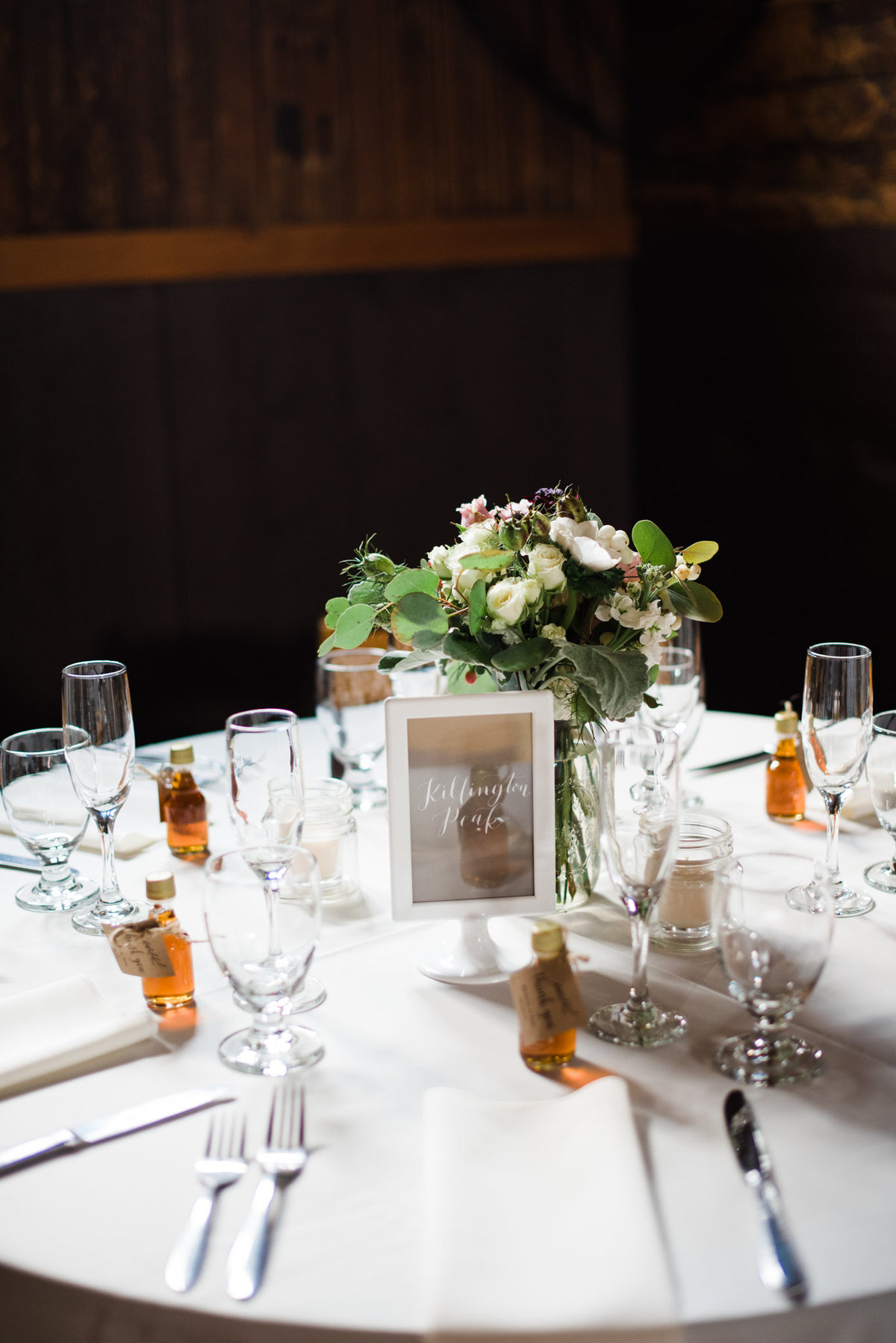 table setting at Vermont barn wedding