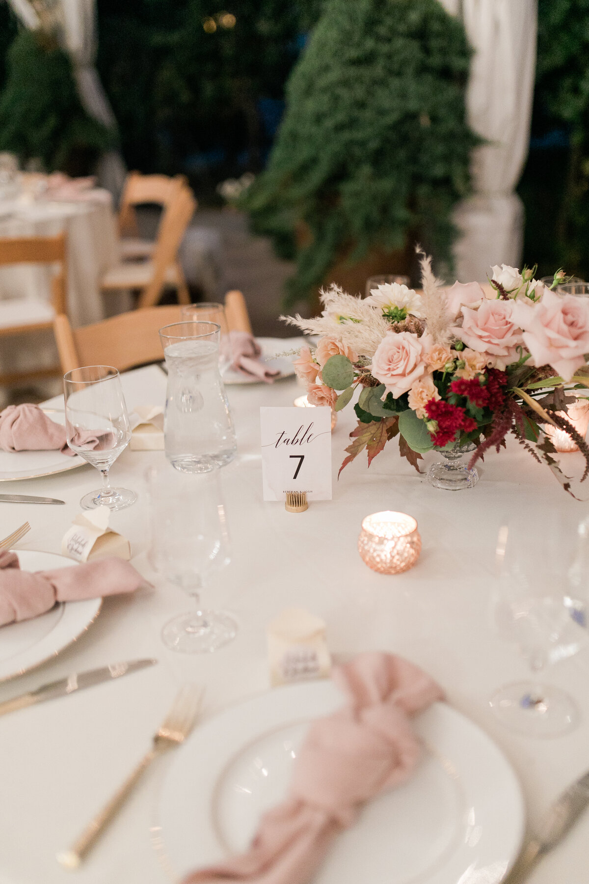 low table arrangement of roses
