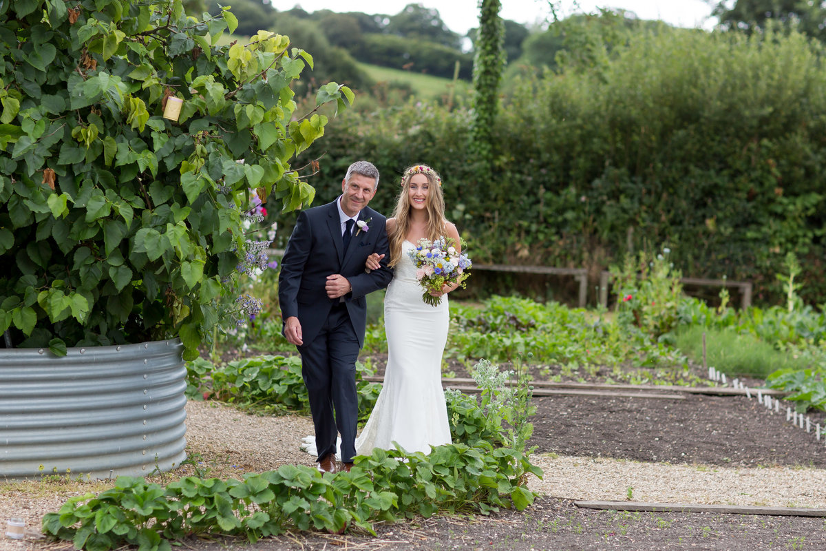 bride and dad wedding photo at river cottage