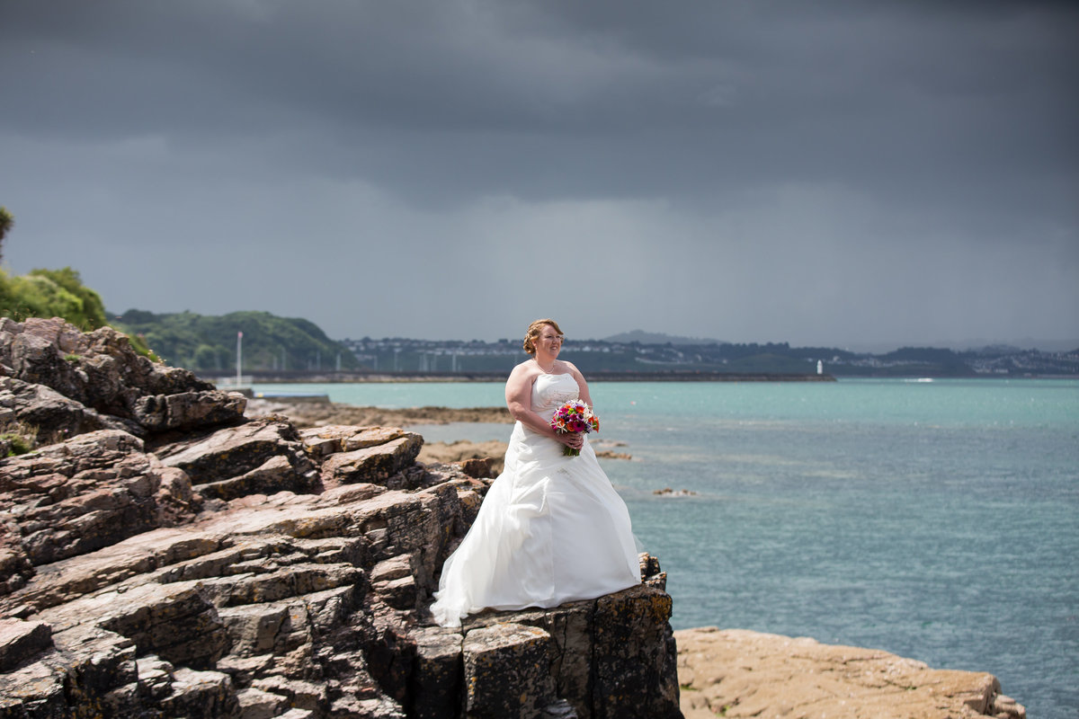bride on the rocks at the berryhead hotel brixham