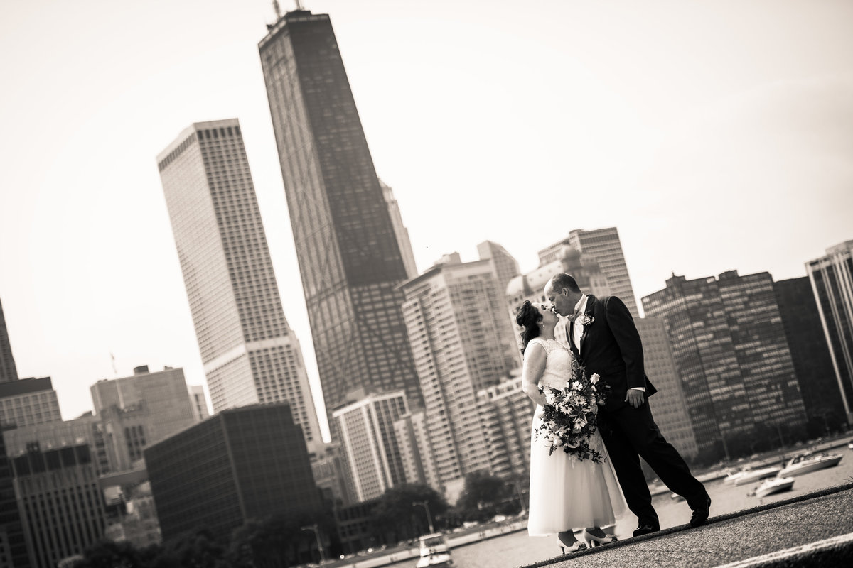 Bride and groom, Olive park, Chicago wedding, skyline.