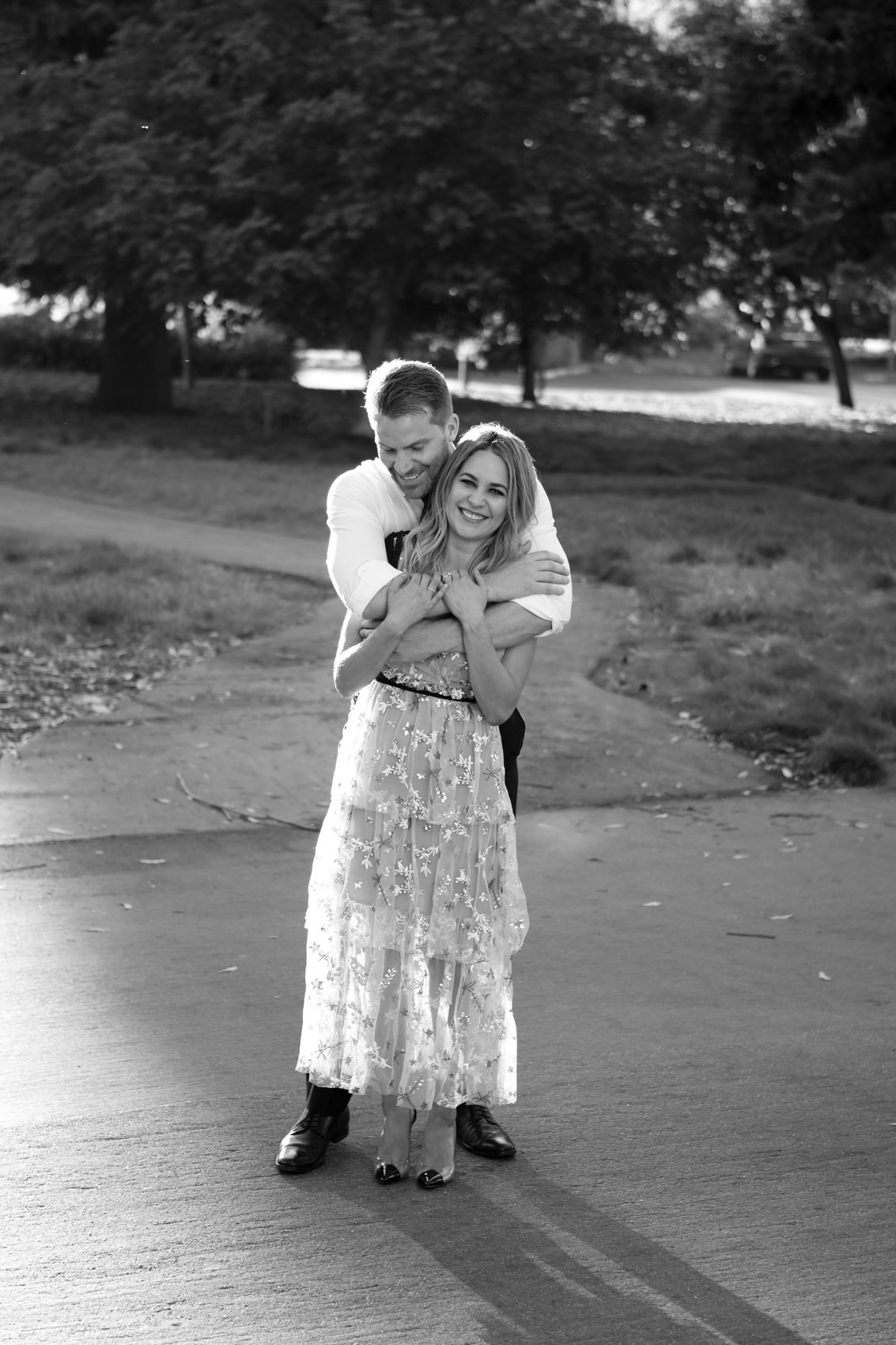 Backlit black and white portraits engagement session, menlo park