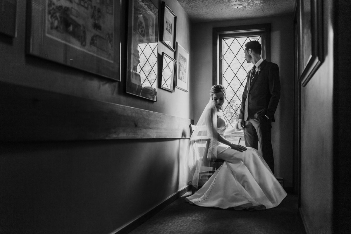 Dramatic bride and groom portrait at Deep Cove Chalet wedding