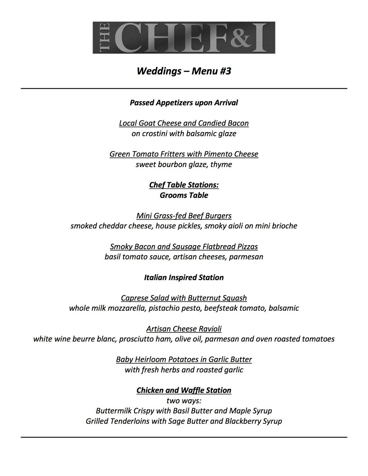 Weddings Menu 3