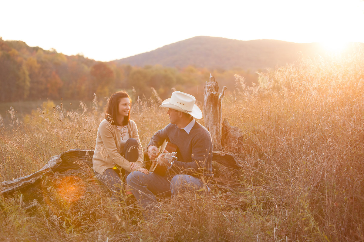 Couples engagement photos outdoors sunset, country theme, Hudson Valley NY family photographer