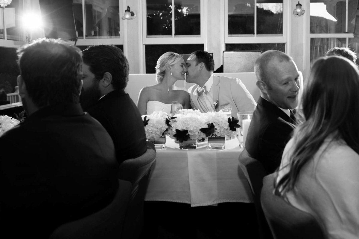 Rockland Maine Wedding Photographers Coastal Reception Camden Harbor Inn Image Bride Groom Kiss I am Sarah V Photography