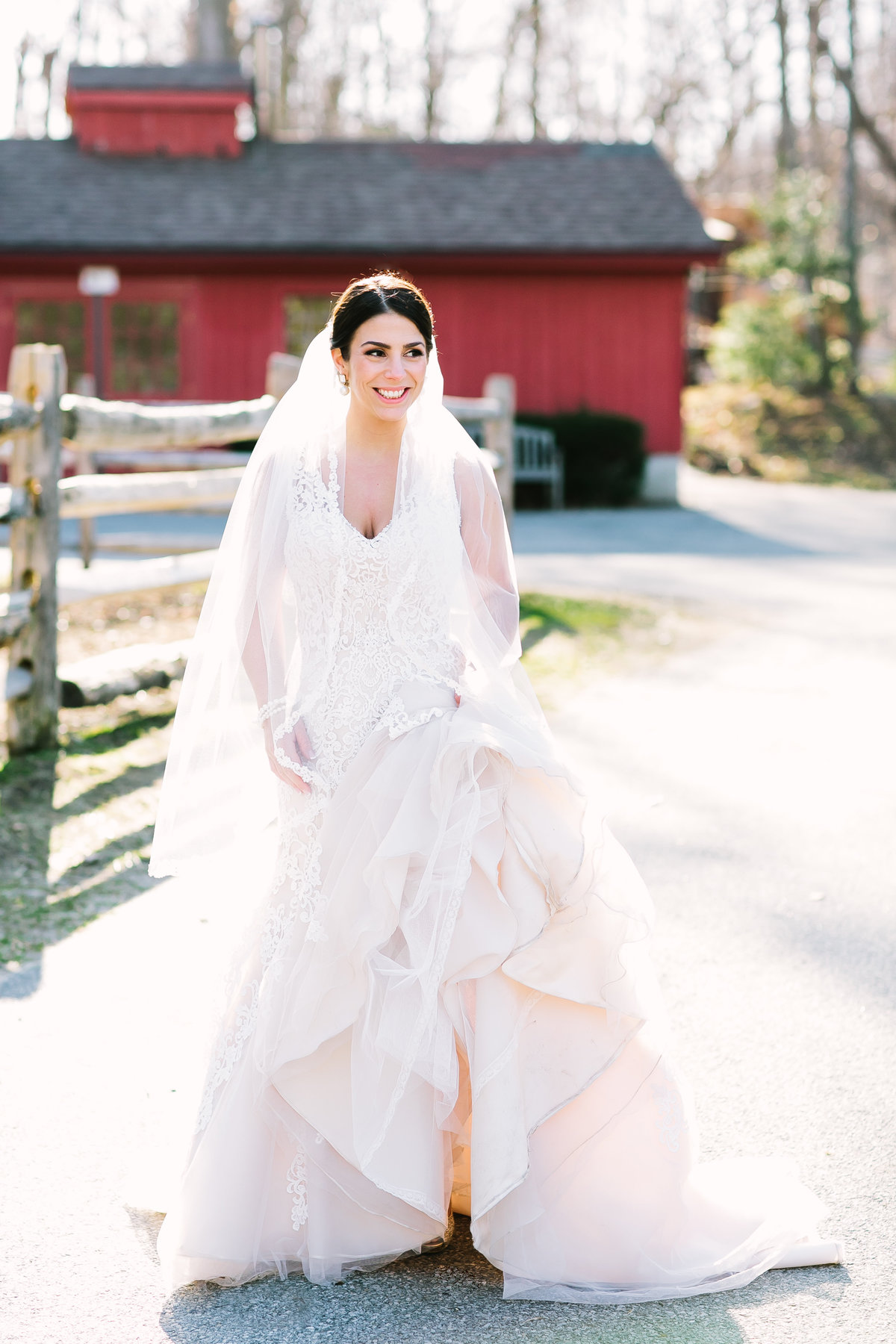 glowing bride in romona keveza gown