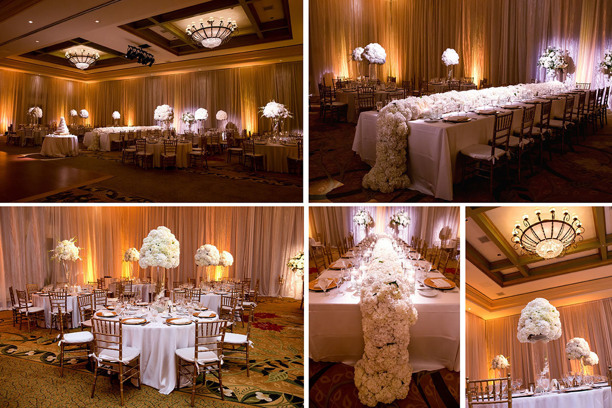 ritz tiburon wedding reception white cascading centerpieces