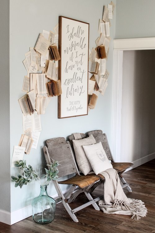 Cotton+Stem+Interiors+farmhouse+living+room+decor+book+wall+vintage