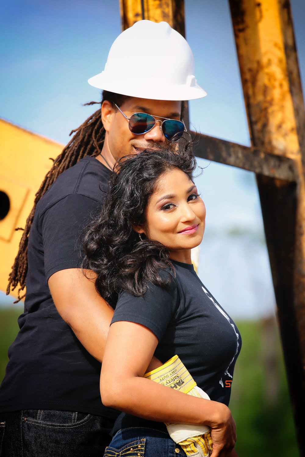 Construction themed couple's portrait. Photo by Ross Photography, Trinidad, W.I..
