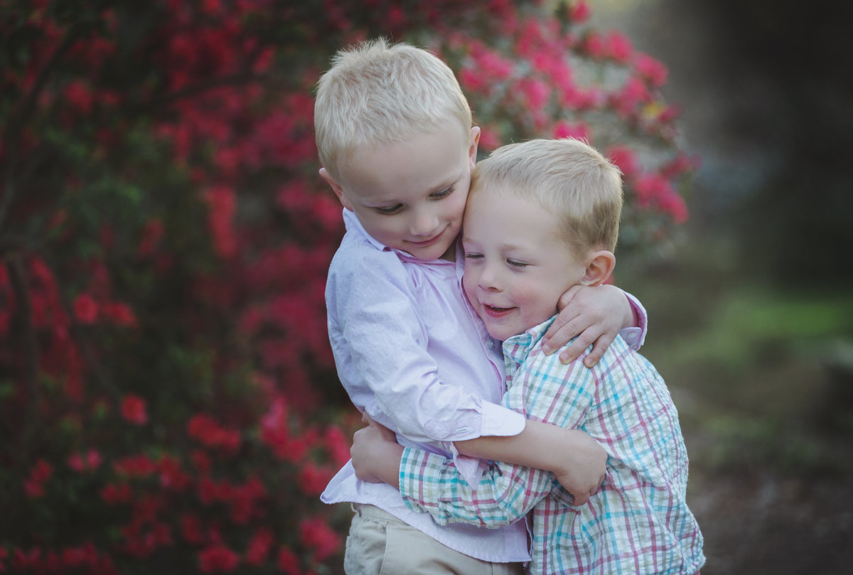 charlotte family photographer jamie lucido captures brothers embracing during family session in Rock Hill with azaleas in background