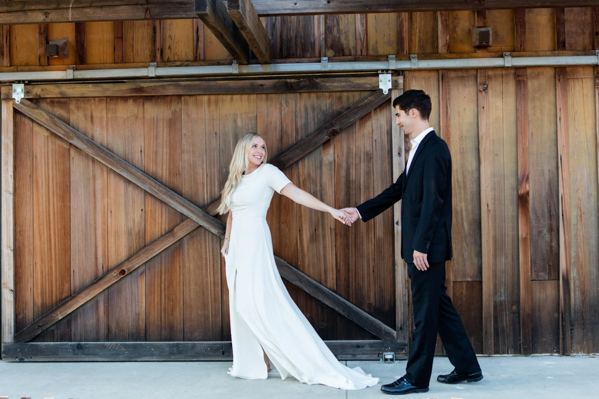 Rustic Barn Doors for Wedding Photos, First Look in the Palo Alto Hills