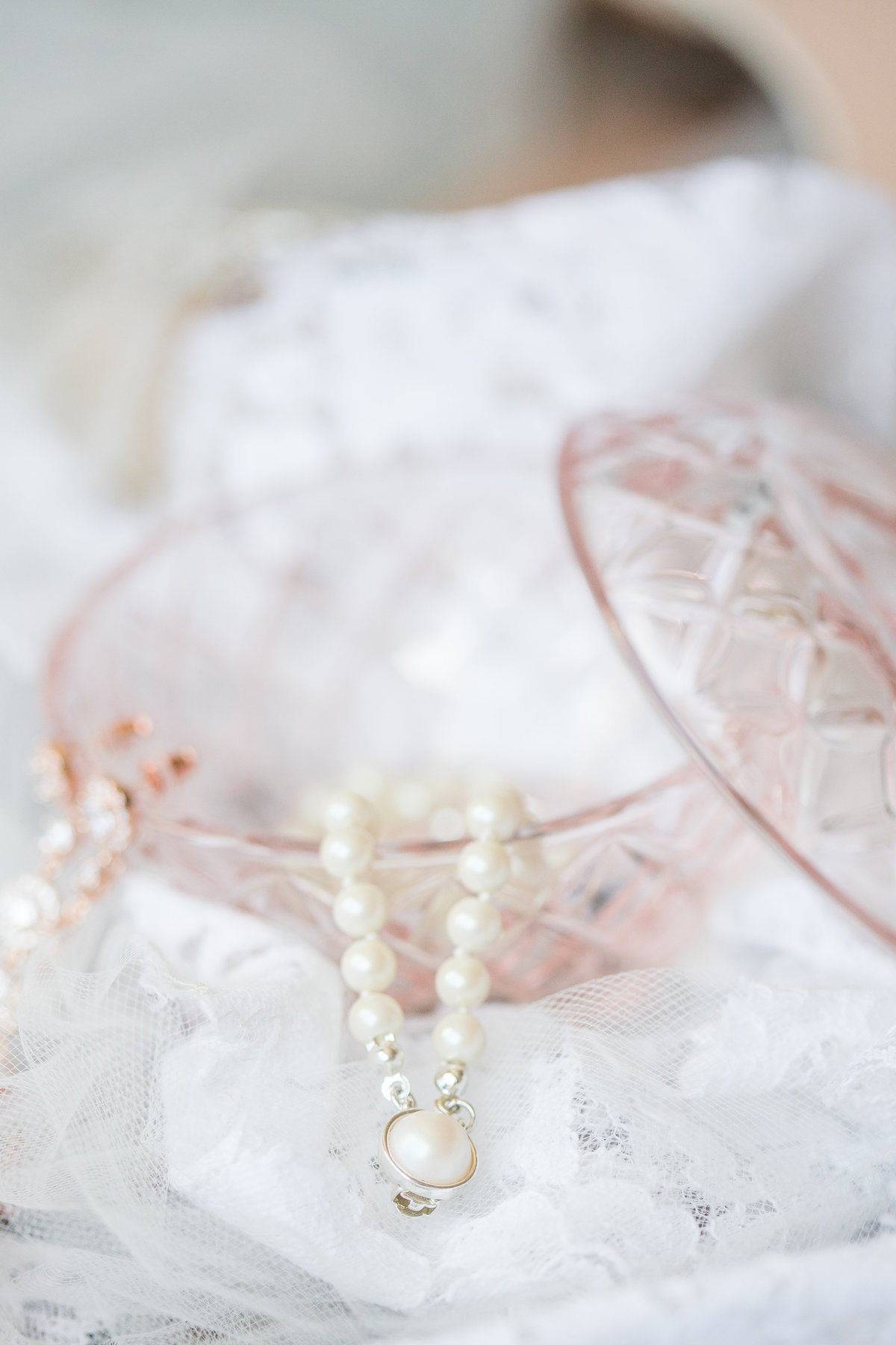 Pink Glass and pearls