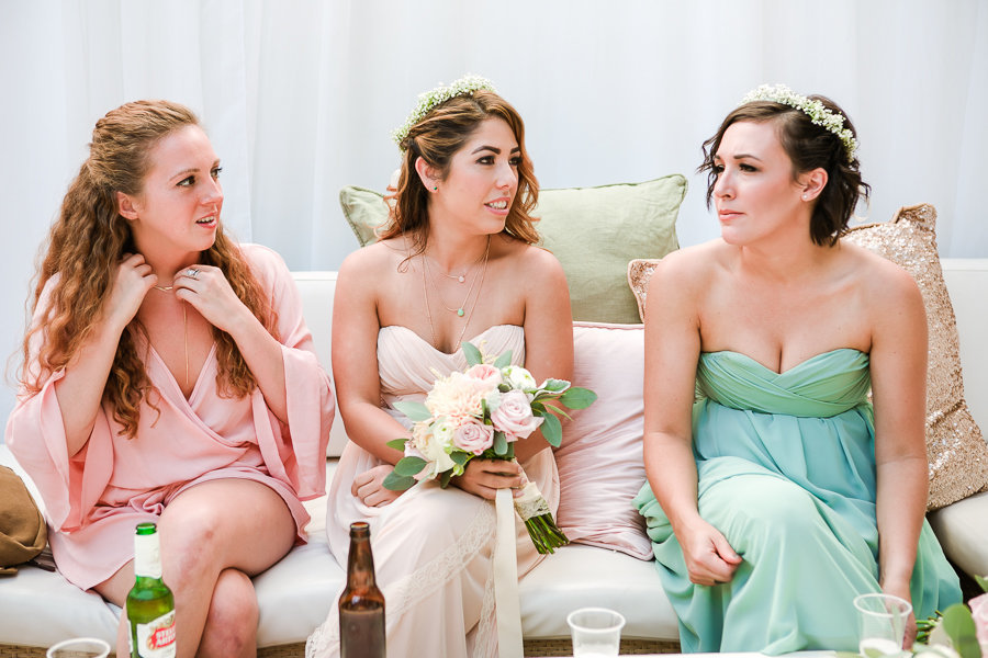 beautiful bridesmaids in lovely pastel colors