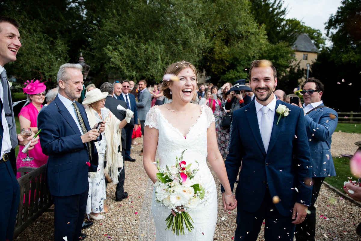 confetti at haselbury mill somerset wedding photographer