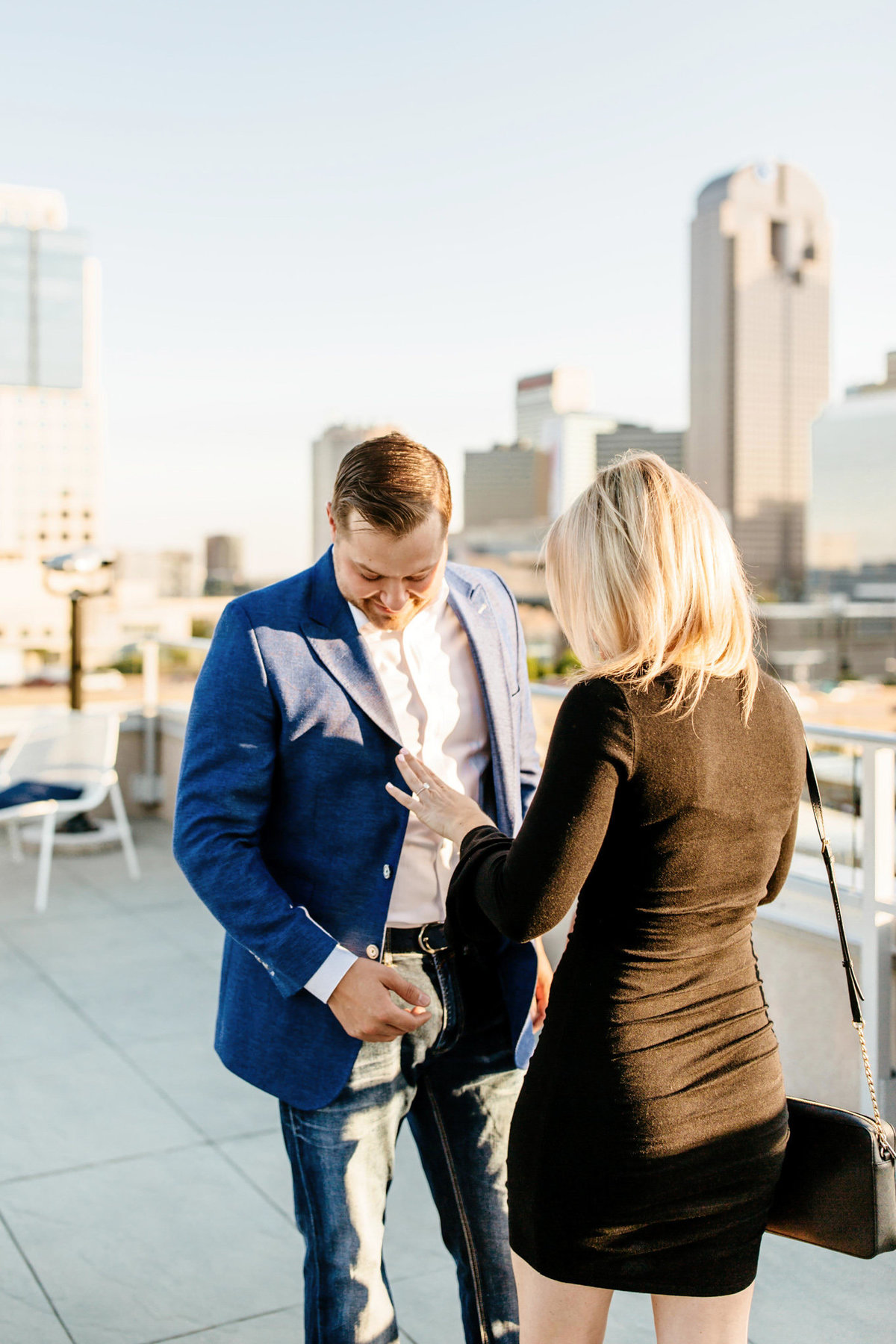 Eric & Megan - Downtown Dallas Rooftop Proposal & Engagement Session-50