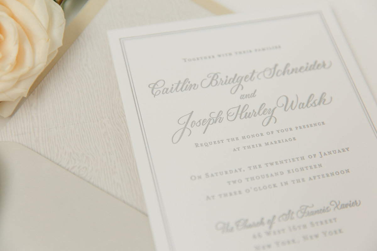 Gray ink custom wedding invitations