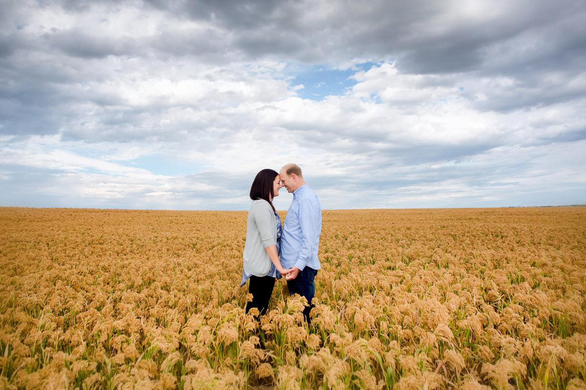 field of gold engagement photo of couple