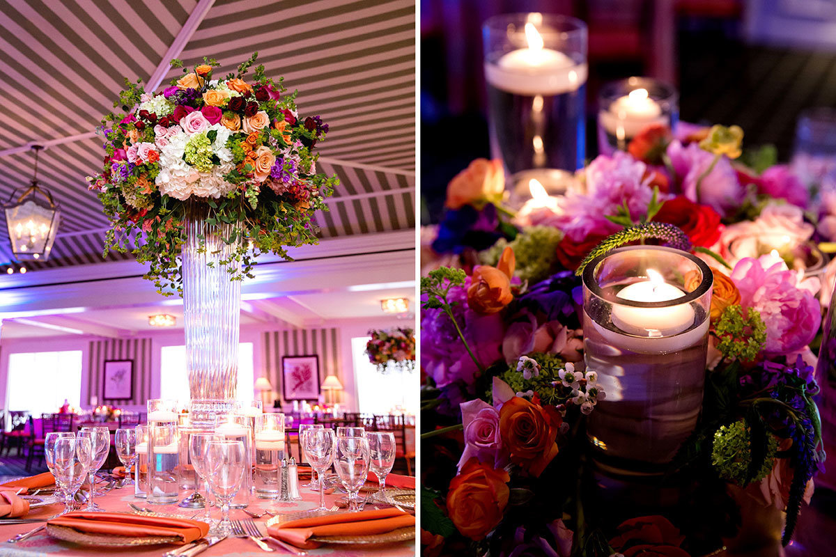 port royal naples florida wedding reception purple centerpieces