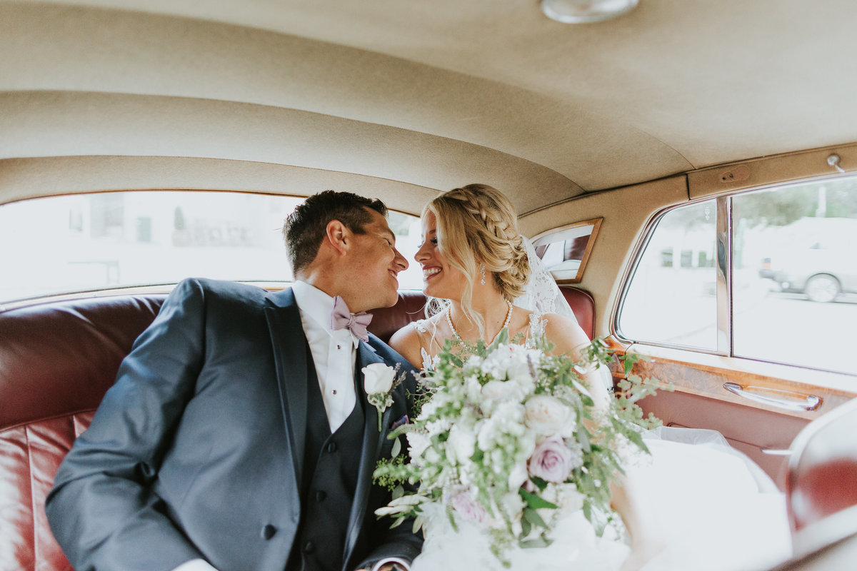 Getaway car with Bride's bouquet Bastyr University Chapel and Hollywood Schoolhouse Wedding Woodinville