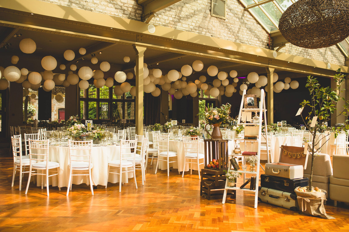 thornbridge hall decor at wedding with ladders and lanterns