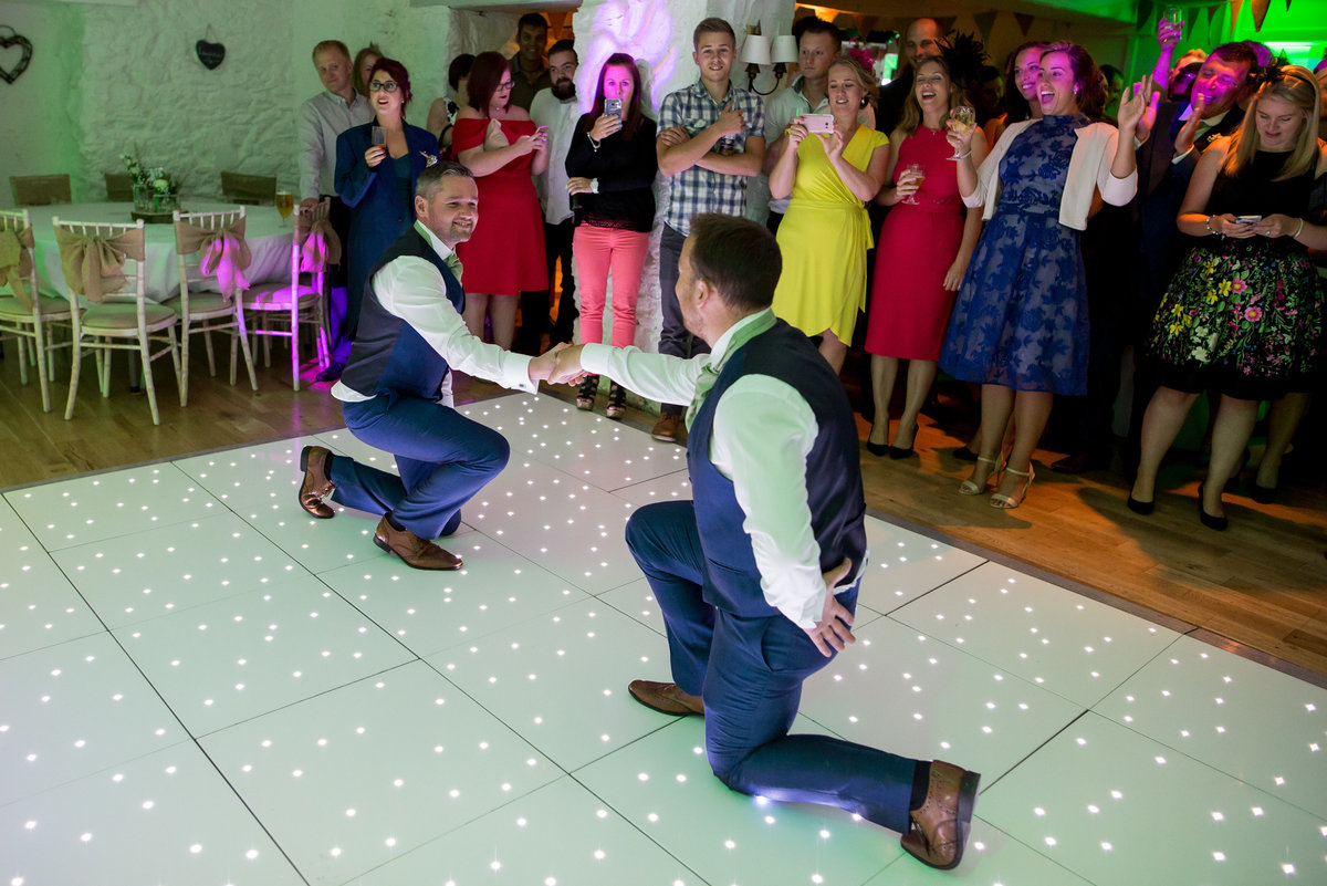 groomsmen on the dancefloor at bickley mill devon