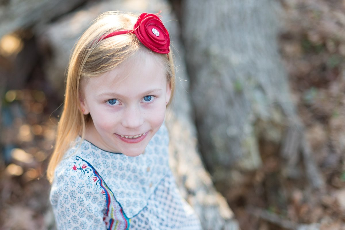 Seven Year Old Girl Portrait with Red headband in Pennsylvania Photo