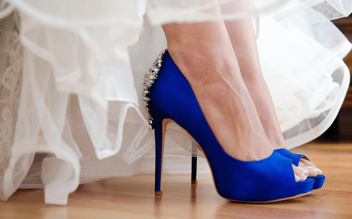 Badgley Mischka Blue Wedding Shoes for Bride