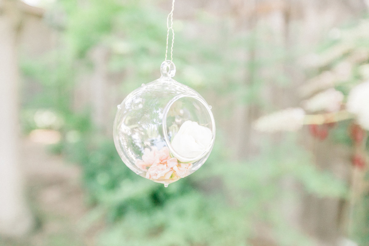 Wedding Florals hanging ornament with flowers