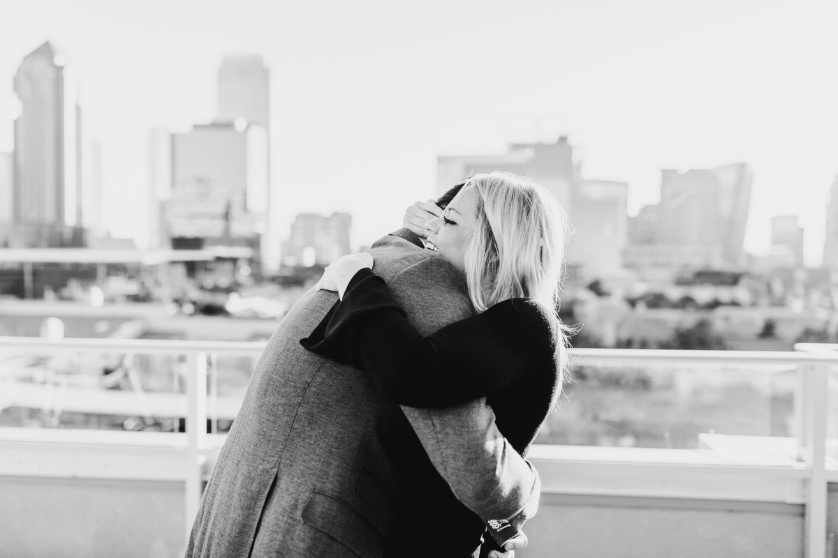Eric & Megan - Downtown Dallas Rooftop Proposal & Engagement Session-40