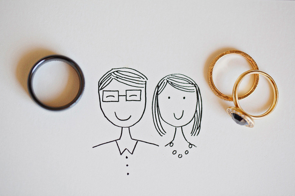 black diamond wedding ring with hand drawn invitation