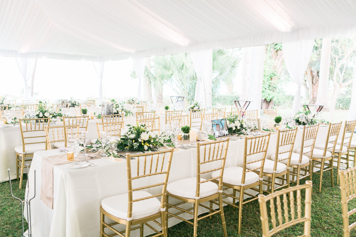 Gold chiavari chairs and white tented wedding reception - destination wedding in Barbados