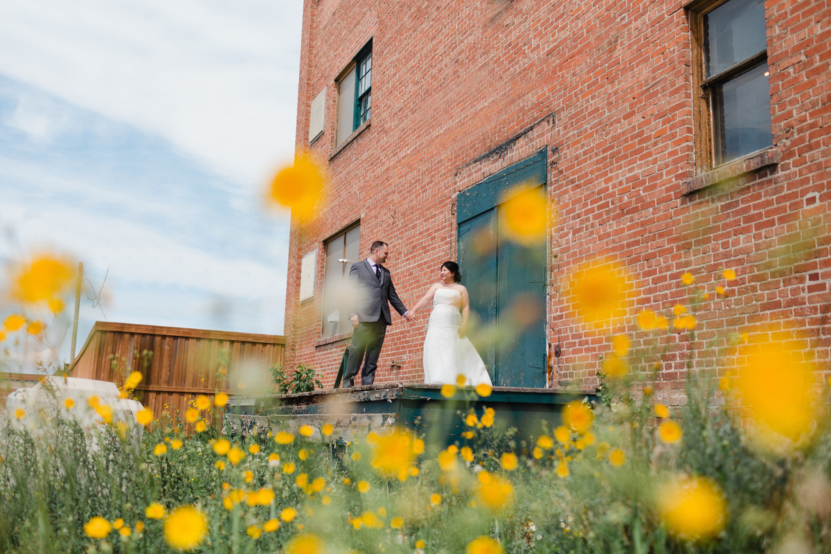 Warehouse district wedding photos in the flowers, Pops of colour