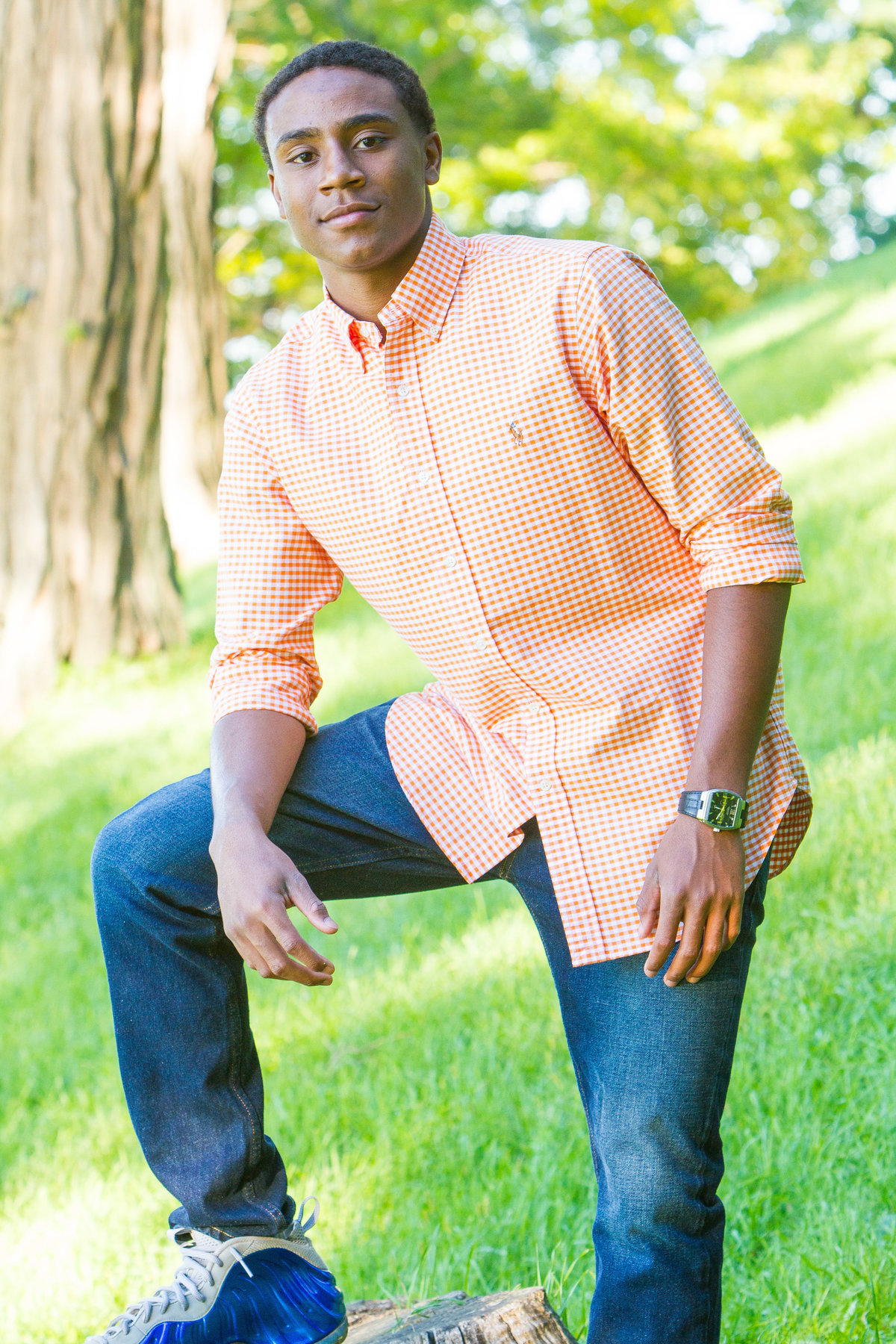 Senior portrait orange shirt