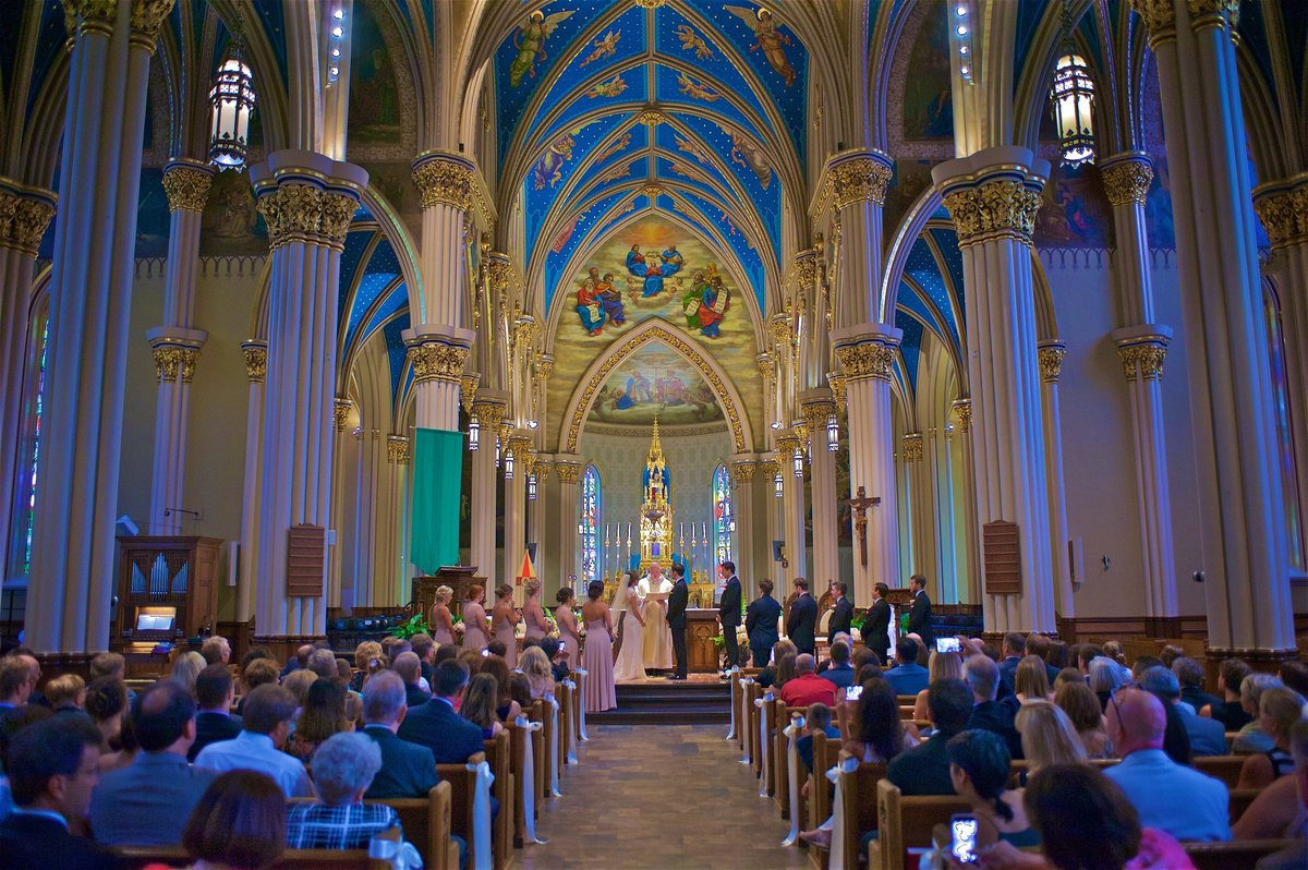 The Bride and Groom take their Vows at the Basilica of the Sacred Heart, University of Notre Dame