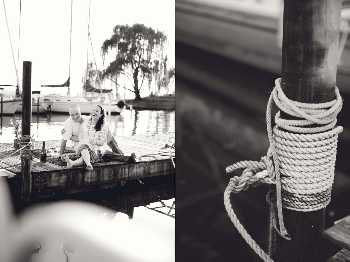 Couple having picnic during sailboat engagement session