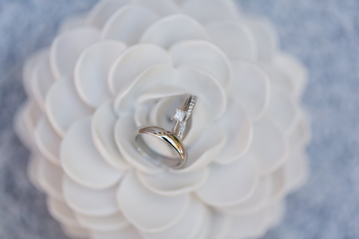 Ring detail shot in white flower