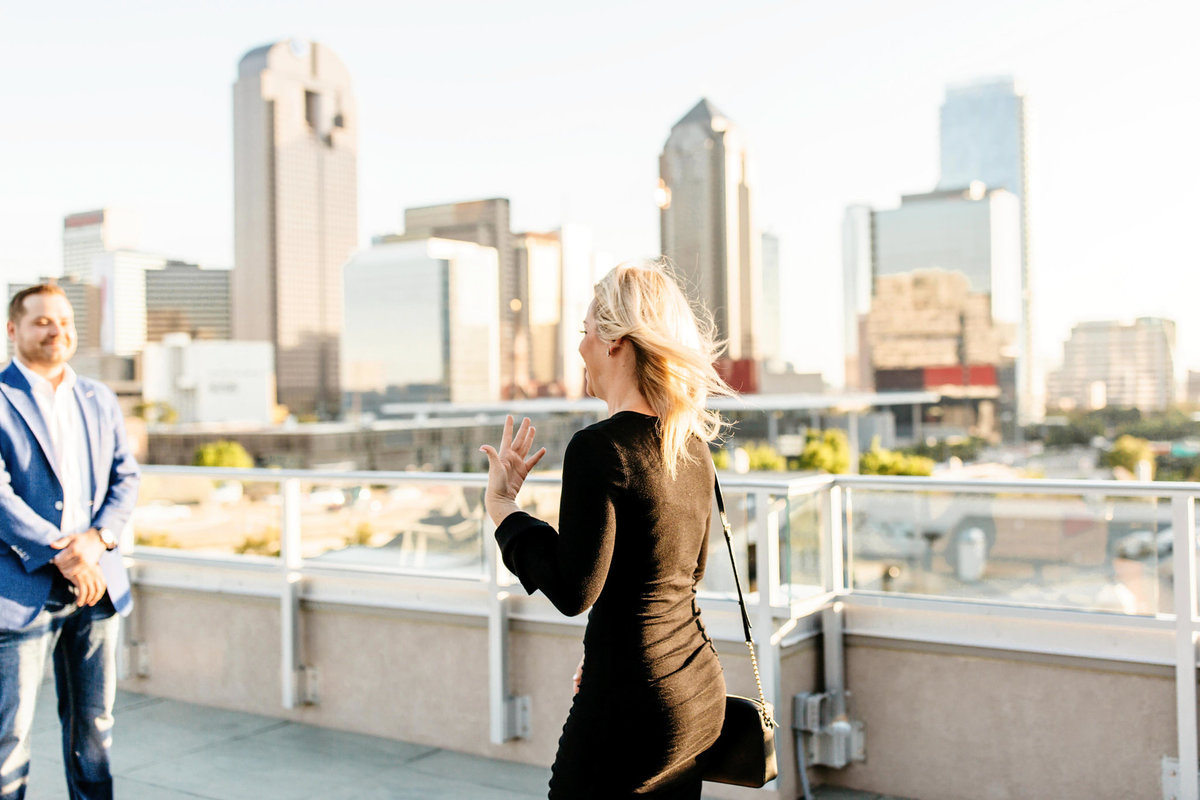 Eric & Megan - Downtown Dallas Rooftop Proposal & Engagement Session-14