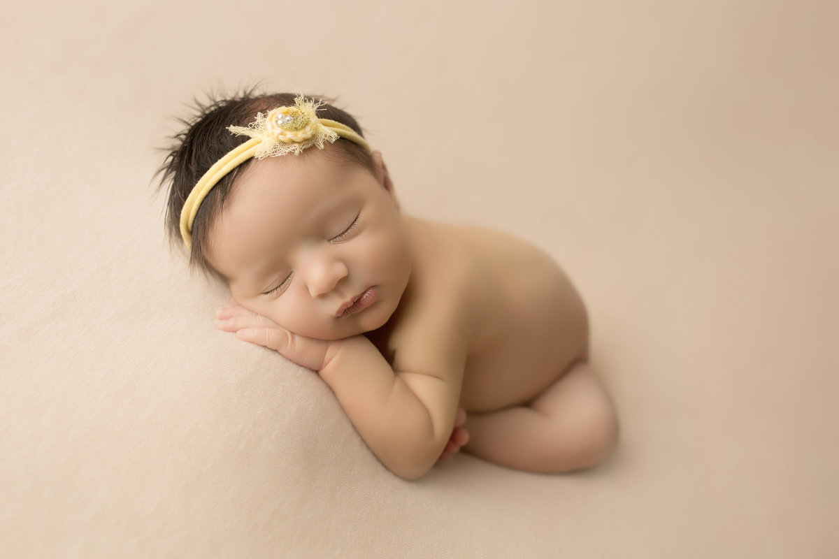 yellow headband newborn baby girl