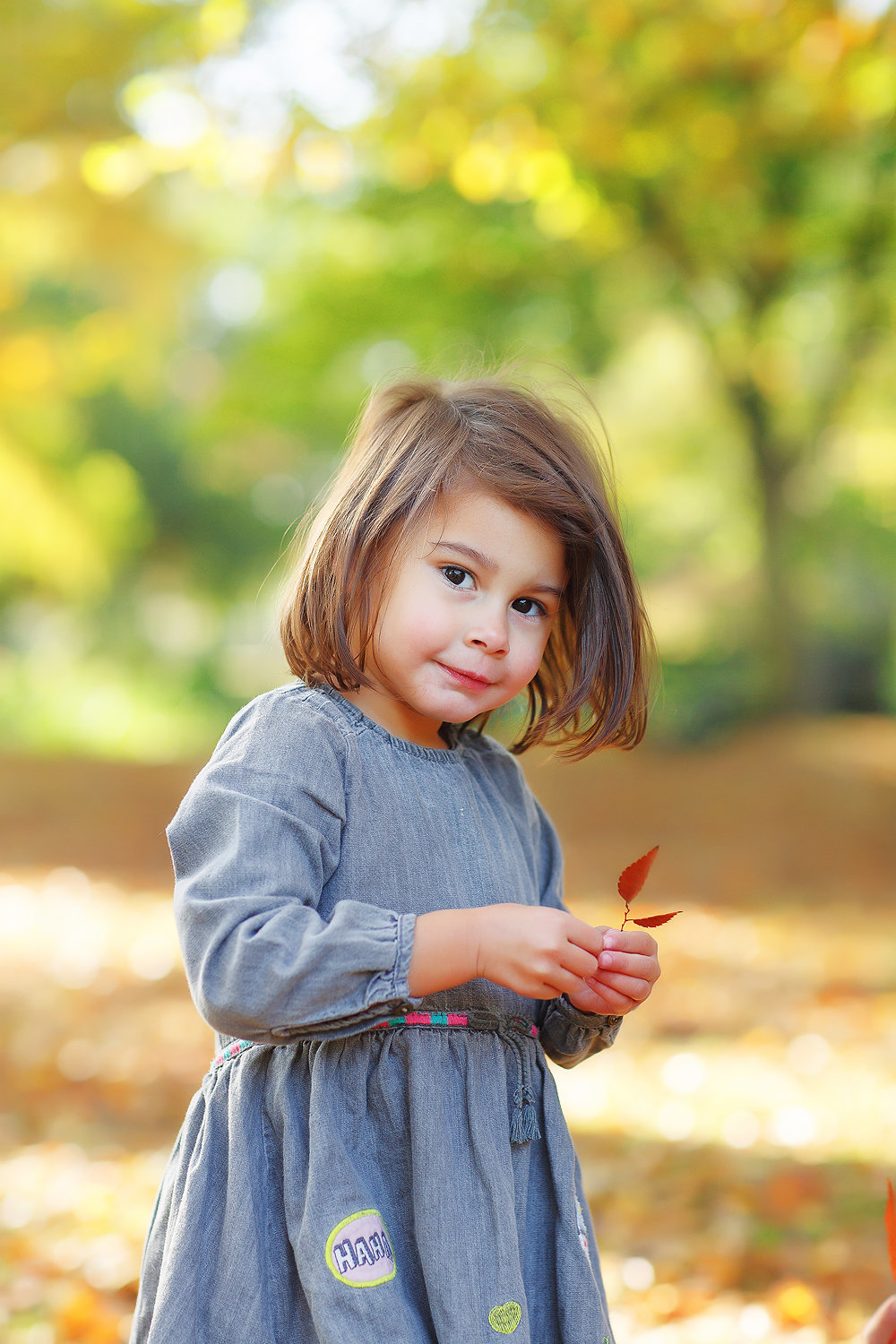 little girl holding autumn leaf
