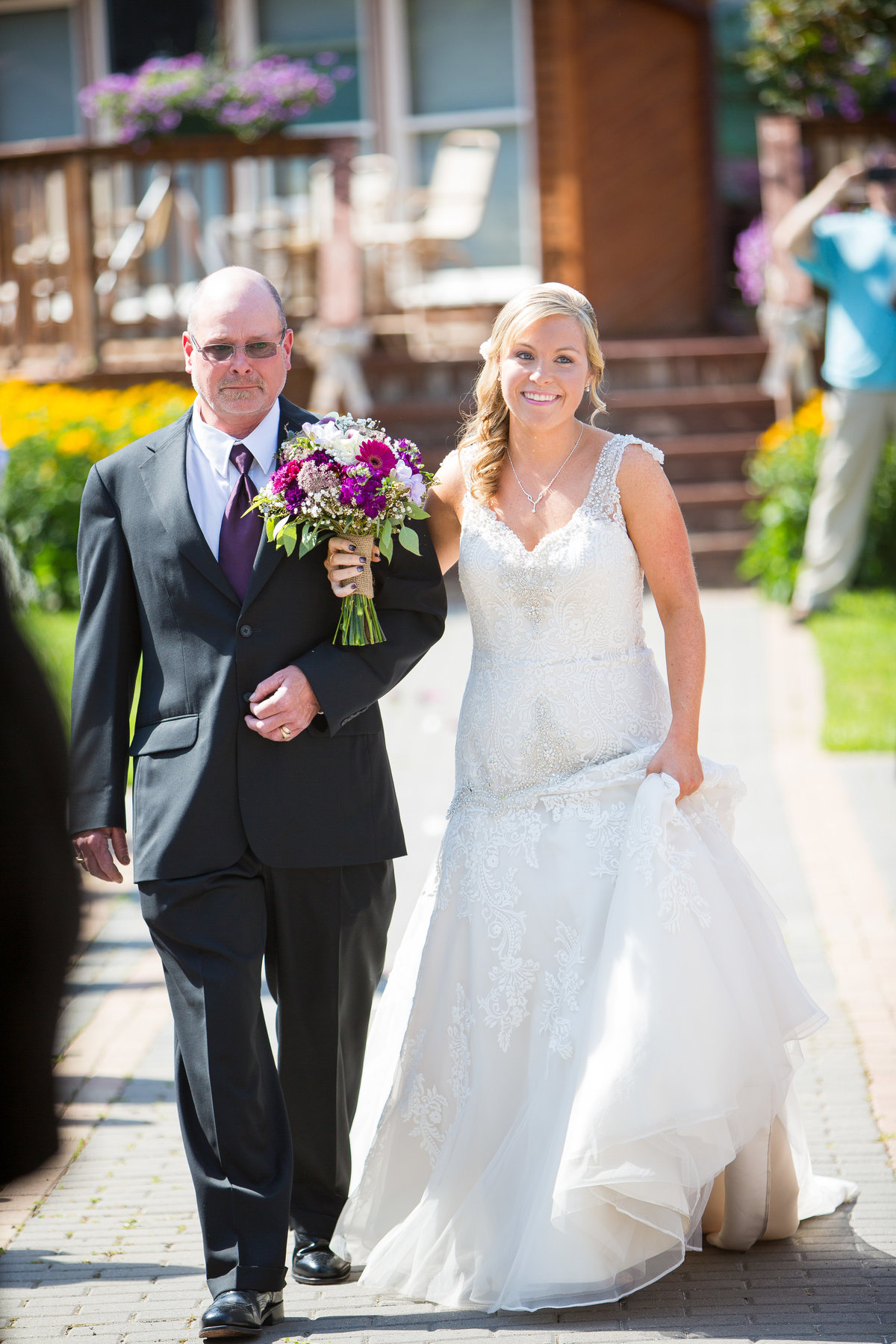 3 wedding photography bride and father walking down aisle