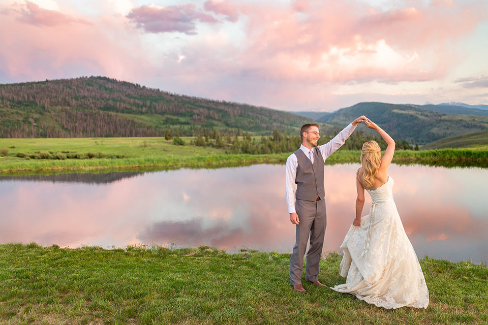 Strawberry-Creek-Ranch-Wedding-Ashley-McKenzie-Photography-Small-Wildflower-Outdoor-Wedding-Twirling-next-to-a-pond