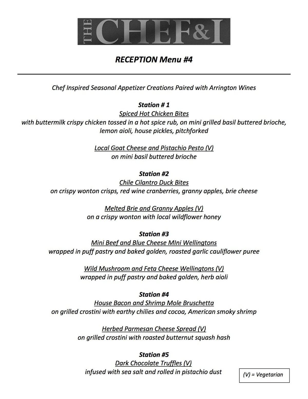 Reception Menu 4