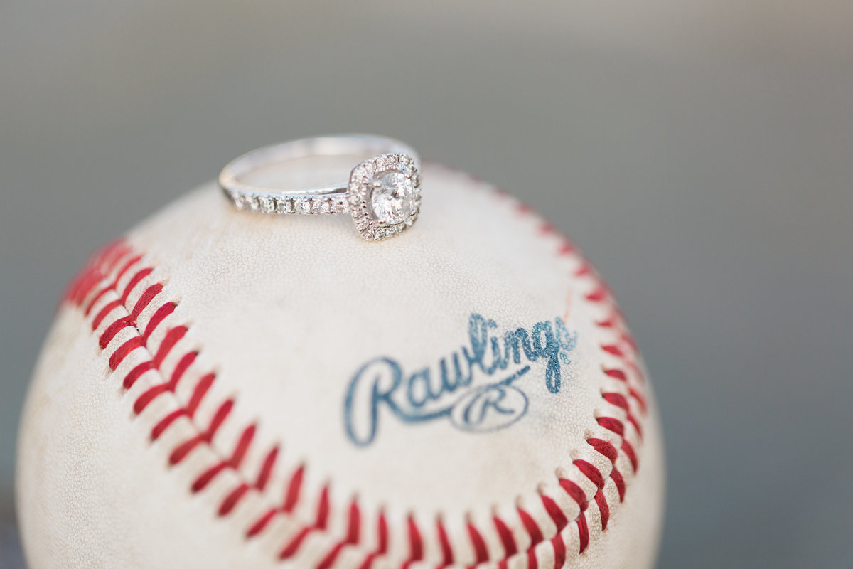 engagement ring on baseball | stone tower winery engagement | virginia wedding photographer | chelsea schaefer photography