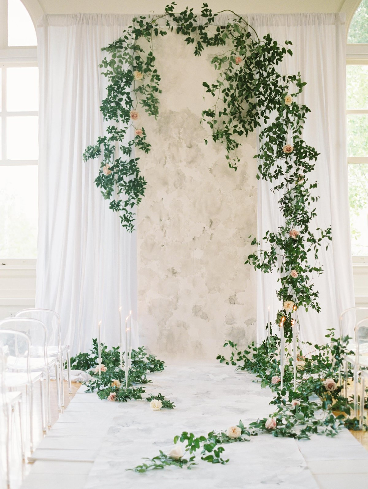 Custom watercolor wedding backdrop featured on Once Wed by Brittany Branson
