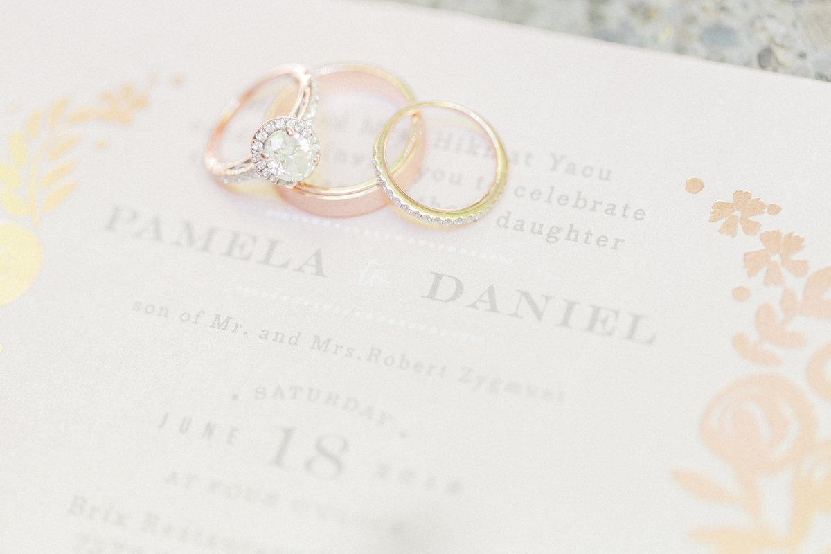 Rose Gold Wedding Rings & Invitations