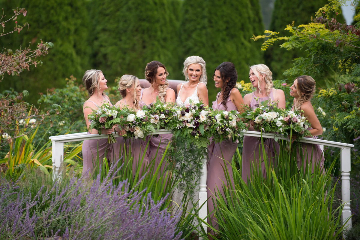 Bridesmaids and bride wedding party