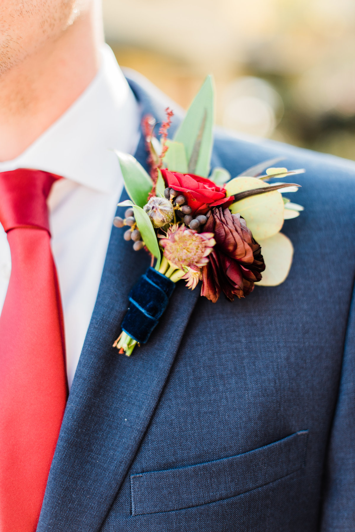 fall wedding boutonniere photo